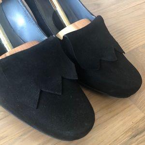 Bally black suede heels